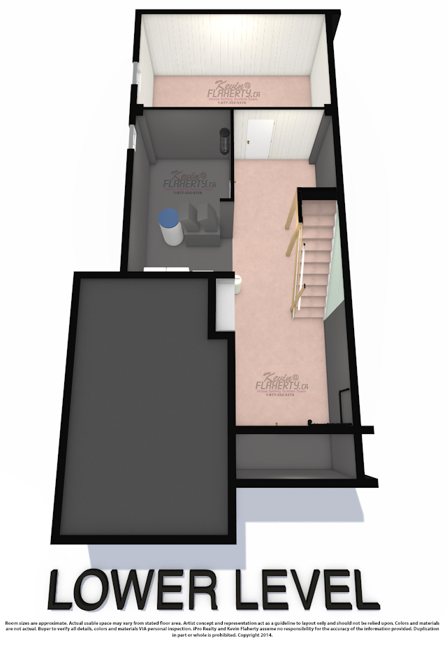3D Floor Plans 22 Arid Ave Basement Brampton Real Estate MLS Listing House for Sale By Kevin Flaherty
