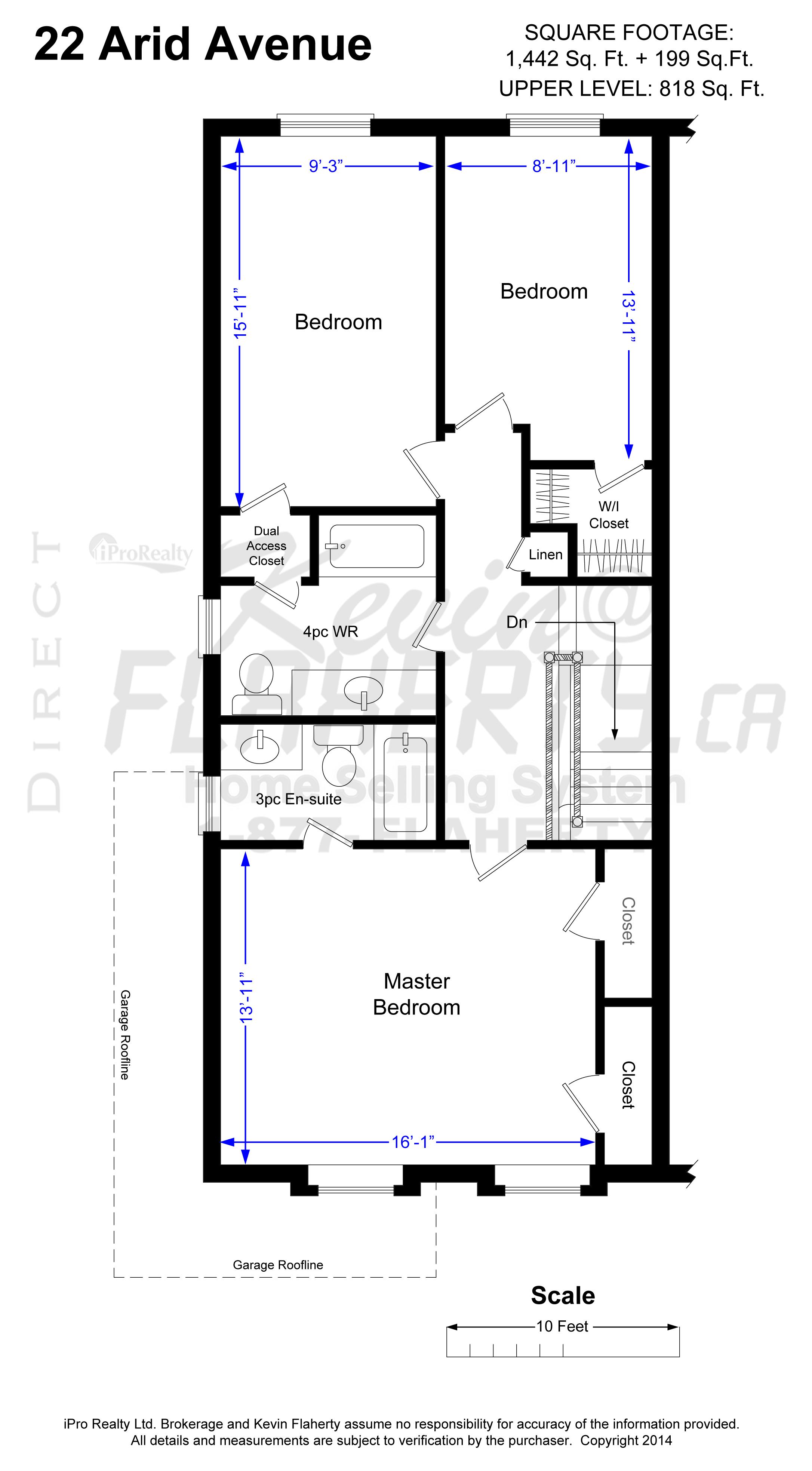 Upper Level Floor Plan 22 Arid Ave Brampton Real Estate