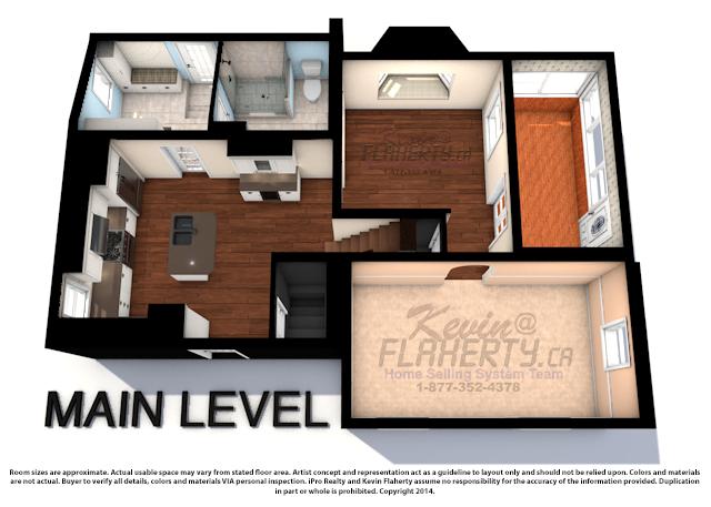 Main Level 3D Floor Plan for 33 Church St Aurora Real Estate MLS Listing