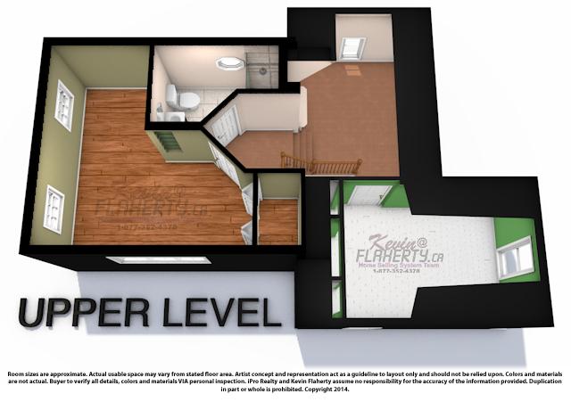 3D Floor plans for 33 Church st Aurora, upper level Real Estate