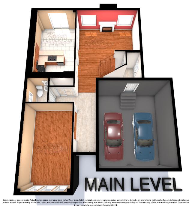 Main Level 3D Floor Plans of 59 Gallview Lane Brampton