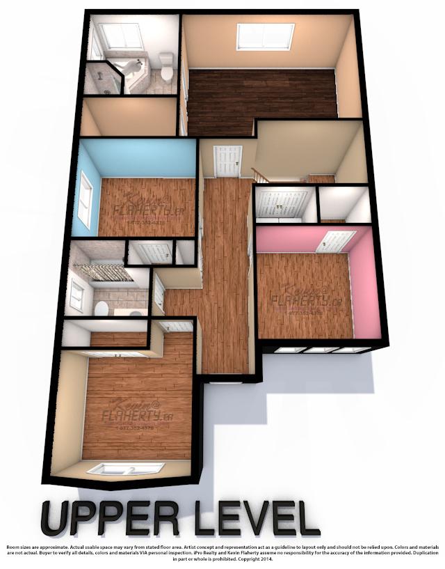 Upper Level 3D Floor Plan of 59 Gallview Lane
