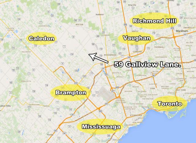 Map Of 59 Gallview Lane Brampton Ontario Real Estate MLS Listing
